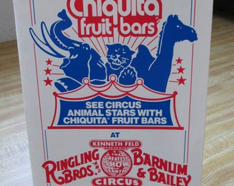 Vintage 1970's brochure of the RIngling Bros and Barnam and Bailey Animal Stars of the Circus sponsered by Chiquita brand bars  Estate find!