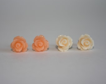I Am Worthy Peach and Off White 10mm Resin Rose Stud Earrings with Surgical Stainless Steel Posts and Backs
