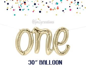 "ONE Script Balloon 30"" | One is Fun Foil Balloon | 1st Birthday Balloon | First Birthday Party | Pink Gold Birthday | Onederland Birthday"