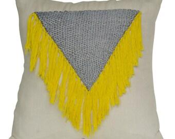 Linen Pillow Cover, Shaggy Pillow, Grey Yellow Ivory Pillow, Tassel Pillow, Boho Pillow, Handmade Pillow, Present, Dorm Pillow, Gift For Her