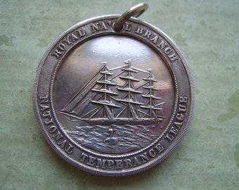 ON SALE A Collectable Antique Silver Temperance Medallion/Medal - Royal Navy - 1868.