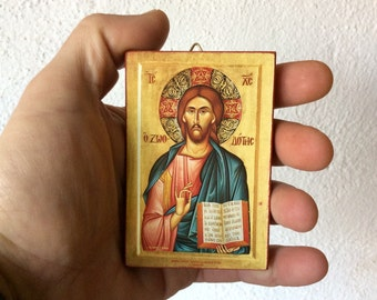 Jesus Christ - The Life-Giver - Orthodox Byzantine icon on wood (8.4 cm x 6.3 cm)