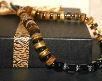 TIGERS EYE And HAEMATITE Necklace For Men...Semiprecious Necklace For Men