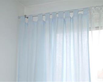 Linen curtain panel  , linen window panel, linen drapery -  baby blue linen