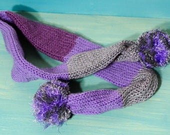 "Knit Winter Tube Scarf with Pom Poms *=* Purple and Gray Scarf  *=* Unisex Scarf  *=* Stocking Stuffer *=* 47"" x 3"" Gift for Child"