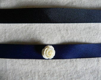 White Rose Ribbon Choker - Blue or Black