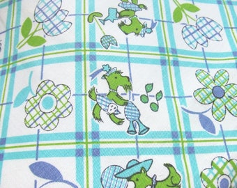 Scottie Dogs Fabric Blue and Green Plaid Cotton Twill