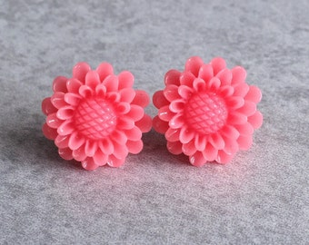 Pink Sunflower Earrings - Silver Stud Posts, Watermelon Red, 19mm Resin Cabochons, Daisies, Flowers, Spring, Summer, Bridesmaid Jewelry