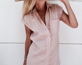 The Midtown Dress, Linen Shift Dress  - Collared, Button Down, Dust Pink Linen