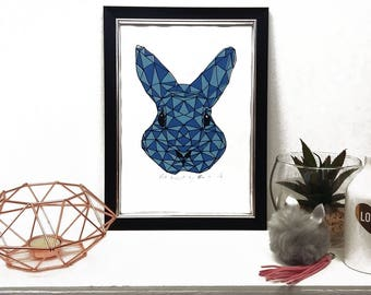 Alice in wonderland, Limited Edition Geometric three layerd hand pulled screen print, Rabbit screenprint, Home Decore, Housewarming, Gift
