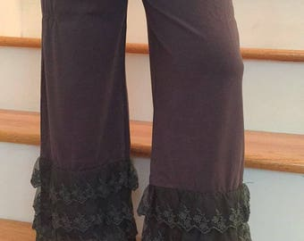 Girl's Gray Lace RUFFLE Pants