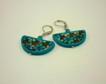 Turquoise flower earrings, Dangling earrings, Elegant jewelry, Boho earrings, Polymer clay jewelry, Everyday jewelry, Unique gift for her
