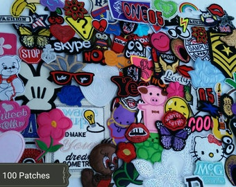 100  Cute patch lot. Iron on patches, sew on patches, appliques Random selection HUGE  patch lot