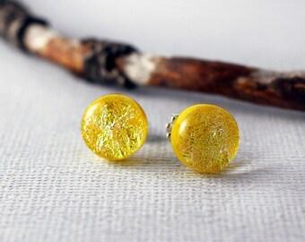 Yellow Stud Earrings - Colorful Earrings - Yellow Earrings Studs - Yellow Jewelry - Unique Stud Earrings - Unique Jewelry - Glass Earrings