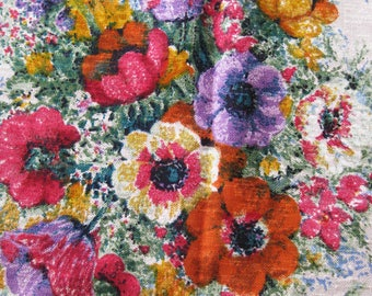 Raw Silk Floral Bouquet Noil Fabric Floral 2.88 yards x 57 inches - Mid Century Silk