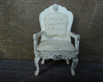 """Dollhouse miniature French parlor chair in 1"""" or 1:12 scale"""