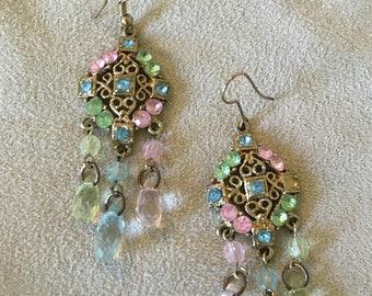 Pastel Crystal Chandelier Earrings, vintage gold plated