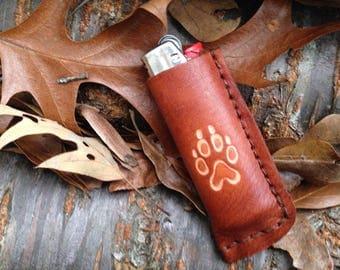 wolf track handmade leather bic lighter case, third anniversary gift, bridesmaid gift, groomsmen gift, made in USA