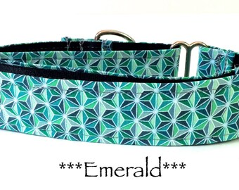 Martingale Dog Collar, Dog Collar, Green Dog Collar, Buckle Dog Collar, Green Dog Collar, Geometric, Emerald
