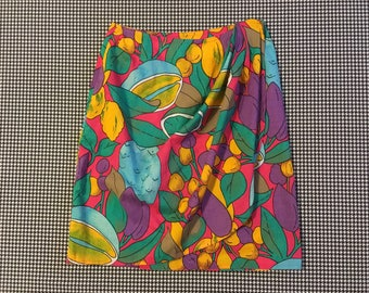 1980's, brightly colored, fruit print, beach-wrap, skirt, Women's size Small