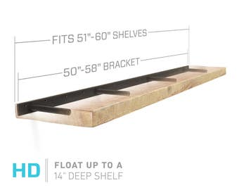 "Floating Shelf Bracket for 51"" to 60"" Long Floating Shelf - HEAVY DUTY - Hardware Only (Patent Pending)"