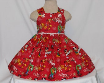 Christmas Mickey Mouse Dress, Disney Mickey dress, Unique Christmas Mickey Handmade Birthday Disney Dress,Princess Mickey Dress,HolidayDress