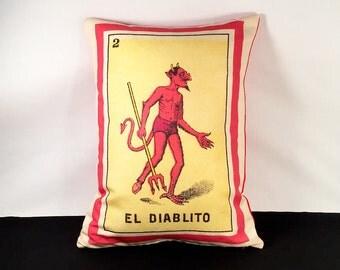 ON SALE: El Diablito Loteria Devil Pillow Cover circa 1920 - Mexican Loteria, Day of the Dead, Dia de los Muertos, Mexican Devil