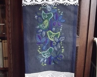 Handmade Vintage Swedish Wall Hanging. Handmade wall decor with Lace. Embroidered Birds.