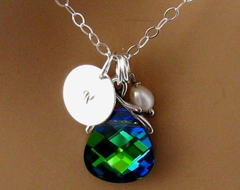 Custom Swarovski Necklace Personalized Bridesmaid Jewelry Swarovski Crystal Bridesmaid Necklace  Initial Necklace