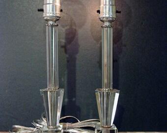 Vintage Glass Boudoir / Mantle Lamps