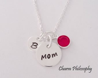 Personalized Mom Necklace - Dainty 925 Sterling Silver Jewelry - Personalized Initial and Swarovski Birthstone - Mother's Day Gift
