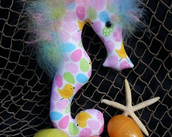 Easter basket, jelly beans, seahorse, Easter ornament, Easter fabric, Easter bunny, chicks and eggs, Easter decoration