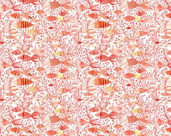 Mermaid Days Fabric Here Fishy Fish in Coral coordiante