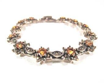 Vintage Marcasite, 925 Sterling Silver and Gold Topaz Bracelet