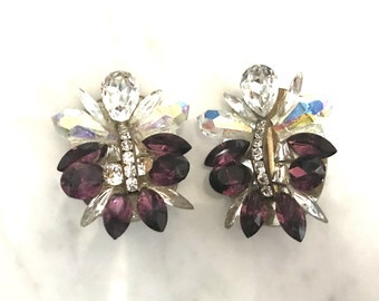 Vintage Rhinestone Cluster Costume Jewelry Clip On Earrings