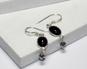 Ruby and Swarovsky  Crystal Earrings - Sterling Silver Earwires - Boho earrings - Cottage Chic