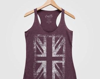 Union Jack Tank Top, Women's Tank Top, Flag Apparel, Flag Clothing, UK Flag, Triblend Racerback Tank Top, Hand Screen Print, Gift For Women