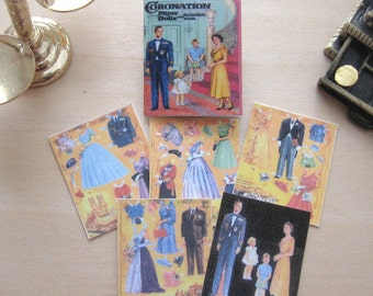dollhouse paper doll book queen coronation miniature 12th scale vintage