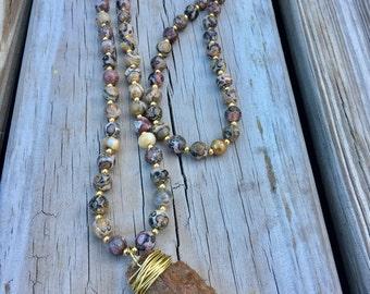 Sale !!! 39.99    Was 59.99 Arrow head necklace/ long Jasper beaded necklace/long boho necklace/Jasper /Arrow head stone