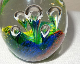 Gorgeous Vintage Paperweight Rising Bubbles Sea Anemone
