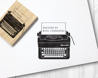 custom typewriter -'written by...' rubber stamp - FREE SHIPPING WORLDWIDE*