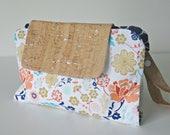 Cork fabric floral quatrefoil fabric nappy clutch. nappy wallet. diaper clutch. diaper wallet. diaper bag.
