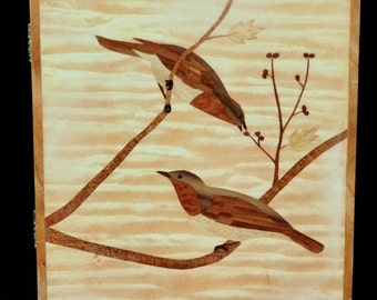 Birds and Branches Tree Marquetry  Wood Inlay Jewelry Box OOAK