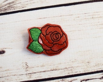 Handcrafted Red Rose Glitter Bow - Red Rose Hair Clip - Baby Girl Bows - Feltie Clip - Applique Hair Clip - Red Rose Accessory - Birthday