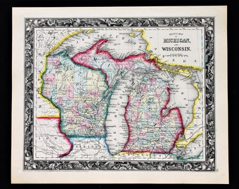 1860 Michigan Wisconsin Map Upper Peninsula Lake Michigan Original RARE antique