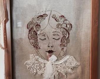 "8""X10"" Framed Freemotion Machine Embroidery, Ready to Ship, Mushroom Girl"