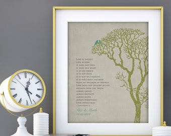 "Wedding Tree 1st Anniversary Gift, Wall Print, 1 Corinthians 13 Love is Patient, Bible Verse personalized with NAMES 8""x10"""