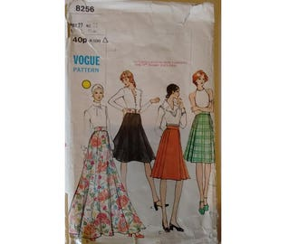 "Vogue 8256 Vintage 60's Flared and Pleated skirts, Mid-knee or Evening length 4 Options Waist 27"" Hips 38"""