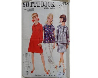 "Vintage 60's Butterick 4478 Maternity Top Blouse Shirt Dress and Skirt Pattern Bust 34"" UK 12"