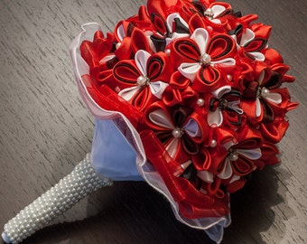 Red and White Wedding Bouquet - Bride Bouquet with Beads and Pearls, Bridal Bouquet, Kanzashi Bridal Bouquet